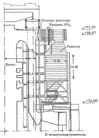 Схема сопряжения СКВ-реактора с котлом на ТЭС Durnrohr (котел № 2)