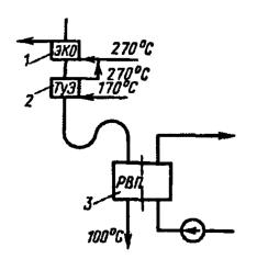 Схема хвостовых поверхностей котла для БПЭ (N=300 МВт, газ)