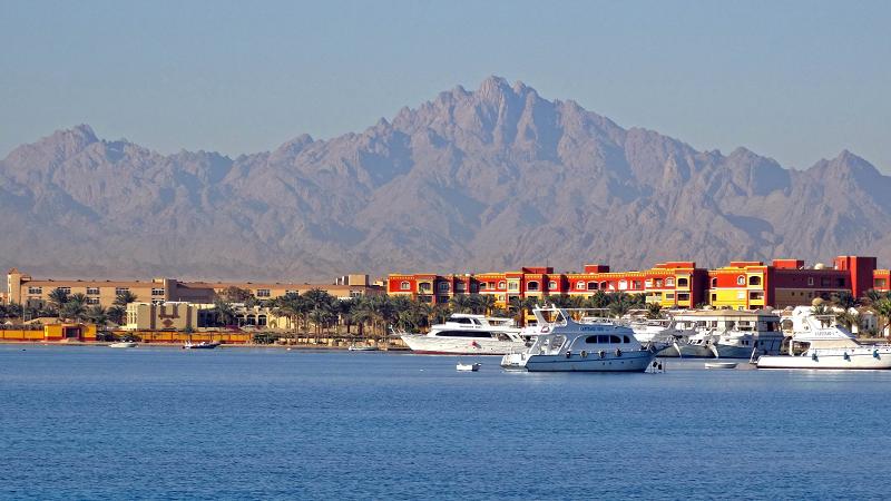 Курортный город Хургада в Египте на побережье Красного моря