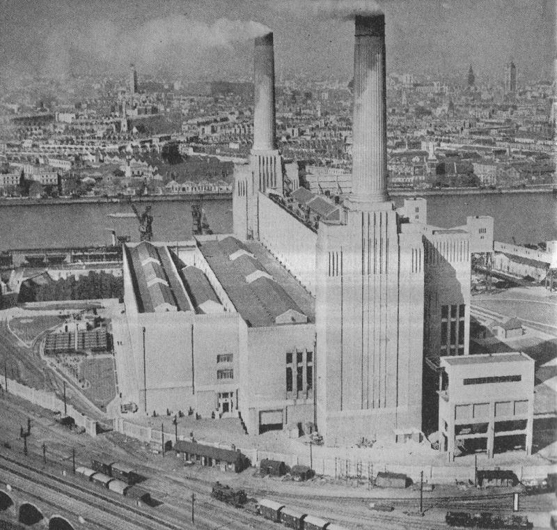 Тепловая электростанция Battersea - одна из первых угольных электростанций Великобритании