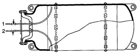 Горизонтальный баллон с выпускными клапанами для хлора газообразного 1 и жидкого 2