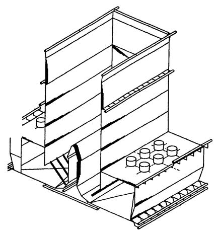 Схема топочной камеры котлоагрегата ТПП-210 м