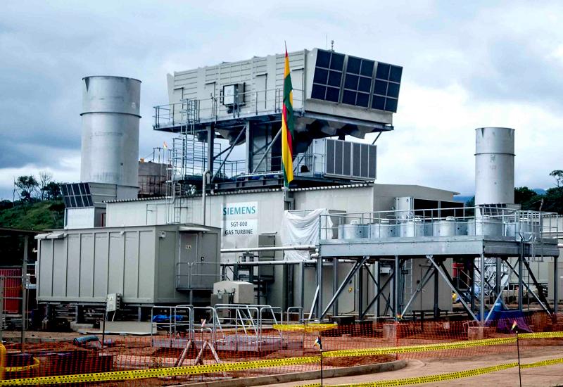 Работающий энергоблок на ТЭС Termoelectrica de Warnes в Боливии под открытым небом